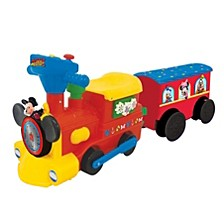 Disney Mickey Mouse 2 In 1 Battery Powered Ride On Choo Choo Train With Caboose And Tracks