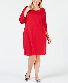 Karen Scott Plus Size Cotton Scoop-Neck Dress, Created for Macy's