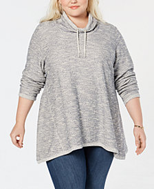 Style & Co Plus Size French Terry Funnel-Neck Top, Created for Macy's