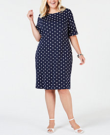 Karen Scott Plus Size Polka-Dot Shift Dress, Created for Macy's