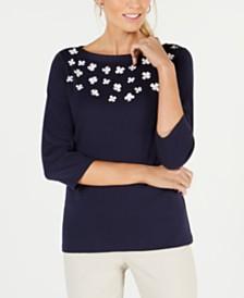Karen Scott Cotton Floral-Appliqué Top, Created for Macy's