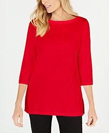 Karen Scott Cotton Boat-Neck 3/4-Sleeve Sweater, Created for Macy's