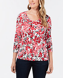 Karen Scott Allover Floral-Print Top, Created for Macy's