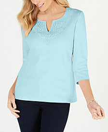 Karen Scott Cotton Crochet-Trim T-Shirt, Created for Macy's