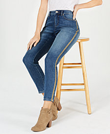 Style & Co Gold-Striped Curvy-Fit Skinny Jeans, Created for Macy's