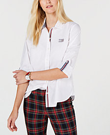 Tommy Hilfiger Cotton Stripe-Trim Shirt, Created for Macy's