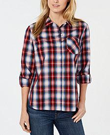 Tommy Hilfiger Plaid Roll-Tab Lurex® Shirt, Created for Macy's