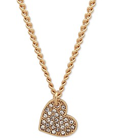"DKNY Pavé Heart Pendant Necklace, Created for Macy's , 16"" + 3"" extender"
