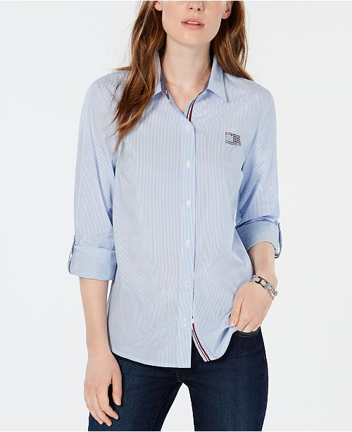 c67b8652db7d0 Tommy Hilfiger Cotton Striped Embellished Shirt