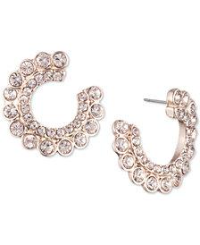 DKNY Rose Gold-Tone Crystal Hoop Earrings