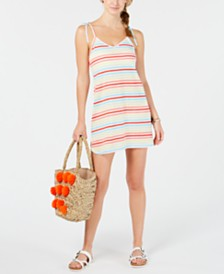 Miken Striped Tie-Shoulder Tank-Dress Cover-Up