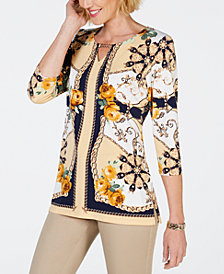 JM Collection Petite Printed Embellished Keyhole Top, Created for Macy's