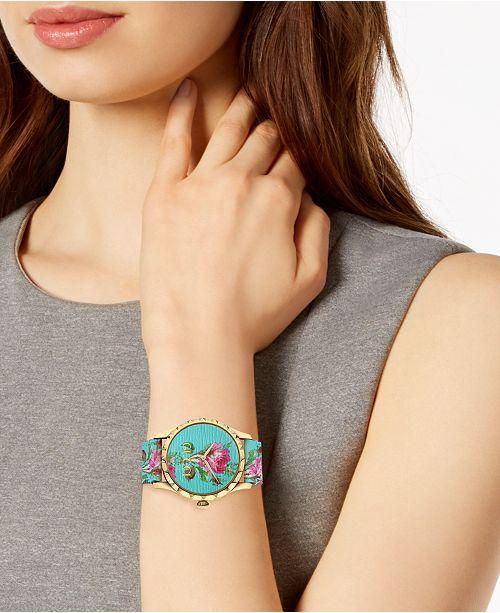 fcae2bcc946 ... Gucci Women s Swiss G-Timeless Blue Flower Print Leather Strap Watch ...