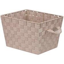 Home Basics Medium Polyester Woven Strap Open Bin