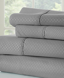 Home Collection Premium Checkered Embossed 4 Piece Bed Sheet Set, Full