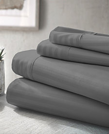 Home Collection Premium Striped Embossed 4 Piece Bed Sheet Set, King