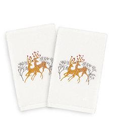 Linum Home Christmas Deer Pair 100% Turkish Cotton 2-Pc. Hand Towel Set