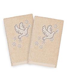 Linum Home Christmas Dove 100% Turkish Cotton 2-Pc. Hand Towel Set