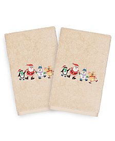 Linum Home Christmas Skating Party 100% Turkish Cotton 2-Pc. Hand Towel Set