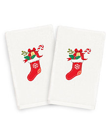 Linum Home Christmas Stocking 100% Turkish Cotton 2-Pc. Hand Towel Set
