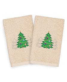 Linum Home Christmas Three Trees 100% Turkish Cotton 2-Pc. Hand Towel Set