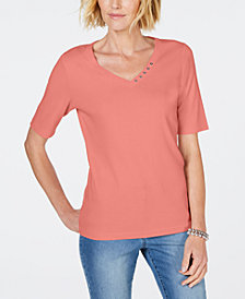 Karen Scott Cotton Rhinestone-Neck T-Shirt, Created for Macy's