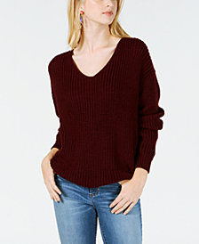 Hooked Up by IOT Juniors' Twist-Back Cutout Sweater