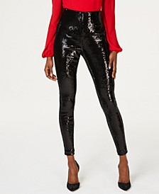 I.N.C. Petite Sequined Skinny Pants, Created For Macy's