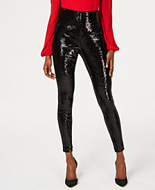 I.N.C. Sequined Skinny Ankle Pants, Created for Macy's