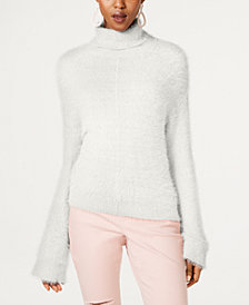 I.N.C. Eyelash Metallic Turtleneck, Created for Macy's