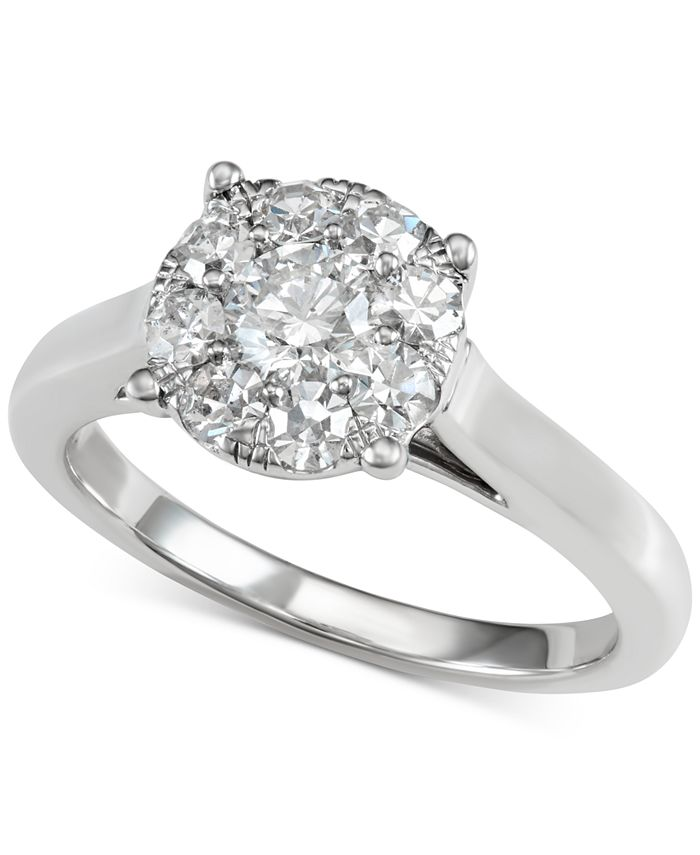 Centennial - Diamond Halo Engagement Ring (1 ct. t.w.) in 14k White Gold