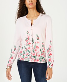 Karen Scott Flower-Print Cardigan Sweater, Created for Macy's