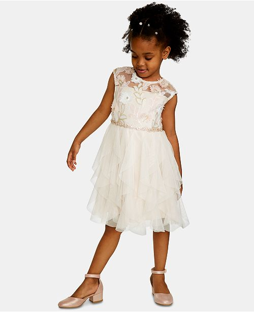 Rare Editions Toddler Girls Sequin Embroidered Dress