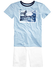 Epic Threads Big Boys Graphic T-Shirt & White Denim Shorts, Created for Macy's