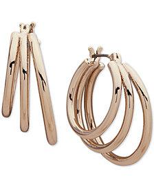 DKNY Gold-Tone Triple-Row Hoop Earrings