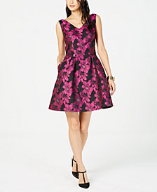 Donna Ricco Metallic Floral Fit & Flare Dress