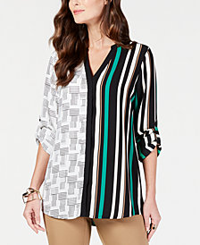 Alfani Print-Block V-Neck Top, Created for Macy's