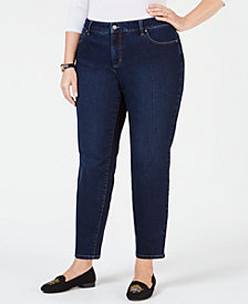 Charter Club Plus Size Straight-Leg Ankle Jeans, Created for Macy's