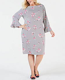 Charter Club Plus Size Printed Ruffled-Sleeve Dress, Created for Macy's