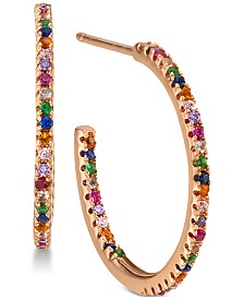 Unwritten Cubic Zirconia Rainbow In & Out Hoop Earrings in Rose Gold-Tone Sterling Silver