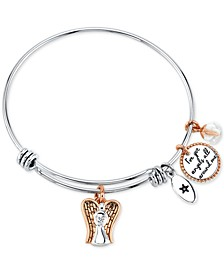 """I've Got Angels All Around Me"" Angel Charm Bangle Bracelet in Stainless Steel & Rose Gold-Tone with Silver Plated Charms"