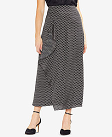 Vince Camuto Printed Faux-Wrap Skirt