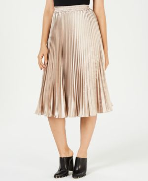 LUCY PARIS Noelle Pleated Midi Skirt in Taupe