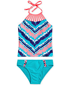 Breaking Waves Big Girls 2-Pc. Printed Strappy-Neck Tankini