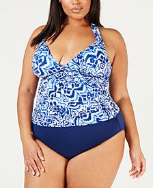 Lauren Ralph Lauren Plus Size Printed Halter Tankini Top