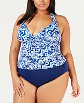 60afbf6099 Lauren Ralph Lauren Plus Size Printed Halter Tankini Top