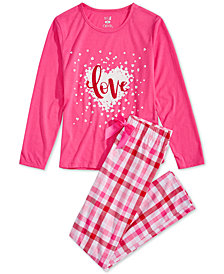 Max & Olivia Big Girls 2-Pc. Love Plaid Pajama Set