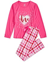 021f5bded3 Max   Olivia Big Girls 2-Pc. Love Plaid Pajama Set