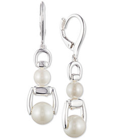 Lauren Ralph Lauren Silver-Tone Link & Imitation Pearl Double Drop Earrings