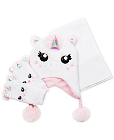 FAB Little Girls 3-Pc. Faux-Fur Unicorn Hat, Scarf & Gloves Set